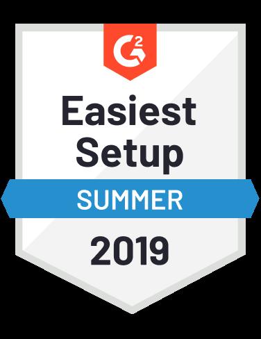 G2 Crowd Award - Easiest Setup Summer 2019