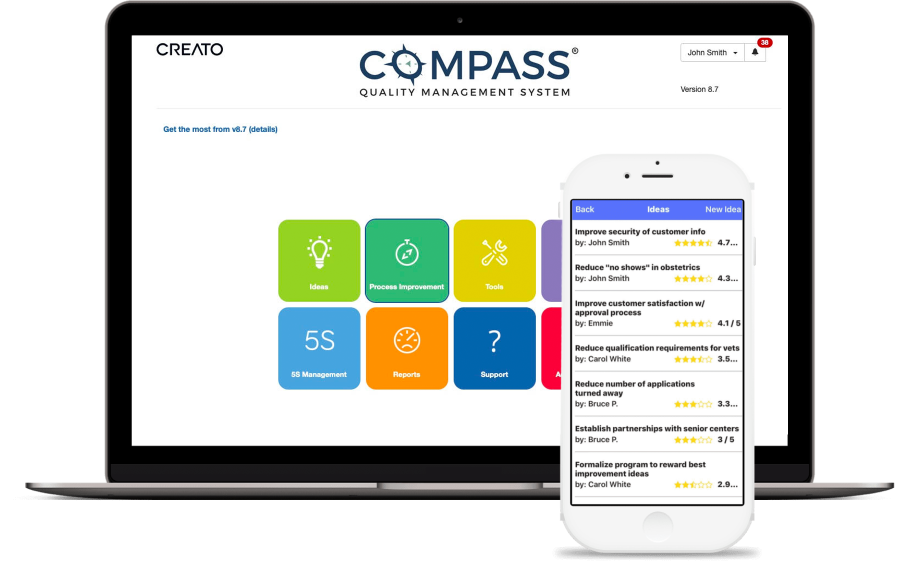 screenshot of compass desktop and mobile app