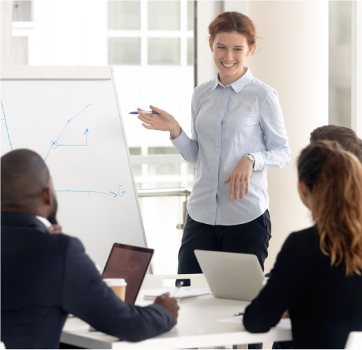 meeting with woman at whiteboard